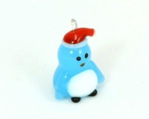 Glas-Anhänger, Pinguin mit Mütze, hellblau, 25 x 14 mm, 1 Stk.