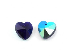 Glas-Anhänger, Herz facettiert, dunkelblau AB, 14 x 14 mm, 4 Stk