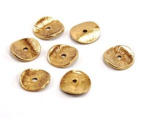 Metallperlen, Spacer Perlen, Scheiben gewellt, antik goldfarbig, 15 mm, 10 Stk.