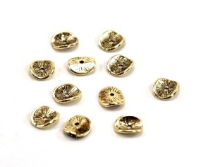 Metallzwischenteile, Metallperlen, Scheibe gewellt, 9.5mm, antik gold, 20 Perlen