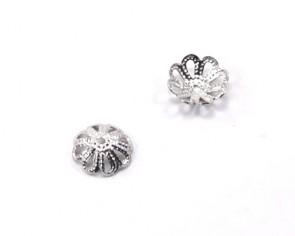 Perlenkappen, Perlkappen, silber / platinfarbig, 8 mm, Blume, 30 Perlkappen