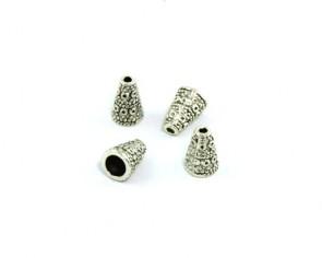 Perlenkappen, Endkappen, Kegel, antik silberfarbig, 7x10mm, 20 Perlkappen