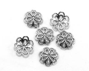 Perlenkappen, antik silberfarbig, 14 mm, Blume, 20 Perlkappen