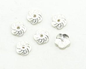 Perlenkappen, helles silber, Tibetsilber, 9 mm, Blume, 20 Perlkappen