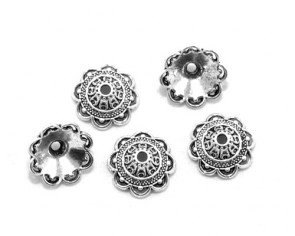 Perlenkappen, antik silberfarbig, 14 mm, Blumenkelch, 20 Stk.