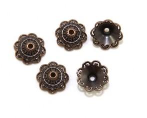 Perlenkappen, antik kupferfarbig, Ø14 mm, Blumenkelch konisch, 20 Perlkappen