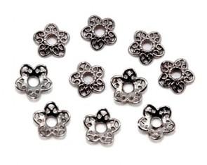 Perlenkappen, anthrazit / schwarz, Ø12 mm, Blumen Herzblätter, 20 Perlkappen