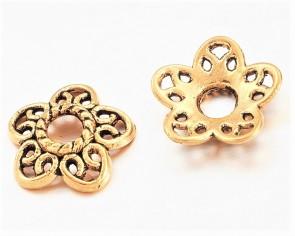 Perlenkappen, antik goldfarbig, Ø12 mm, Blumen Herzblätter, 20 Perlkappen