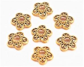 Perlenkappen, antik goldfarbig, 12 mm, Blumen, 20 Stk.