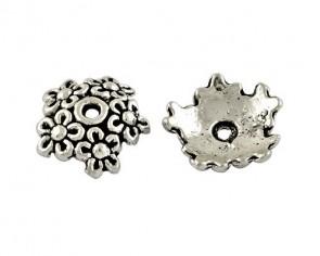 Perlenkappen, antik silber, Ø 11 - 12 mm, Blumenkranz, 20 Perlkappen