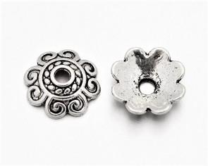 Perlenkappen, antik silber, Ø 10mm, Blume 8-blättrig, 20 Perlkappen