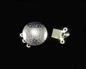 Schmuckverschlüsse, Steckverschluss, versilbert, Kastenverschluss 3-reihig, 17mm, 2 Stk.