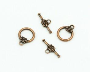 Knebelverschluss, antik verkupfert, 14 mm, Blume, 4 Sets