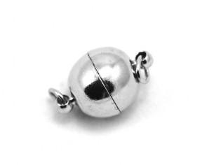 Magnetverschlüsse, silber-/platinfarbig, rund, 19x12mm, 3 Verschlüsse