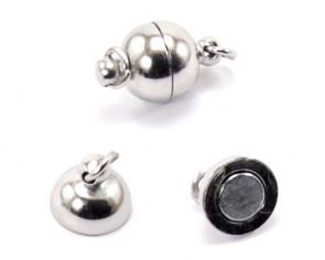 Schmuckverschlüsse, Magnetverschlüsse, silber- / platinfarbig, 16x10mm, 3 Verschlüsse