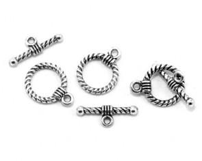 Schmuckverschlüsse, Knebelverschlüsse, antik silber, 19 x 14 mm, 5 Verschluss-Sets