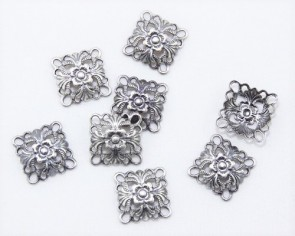 Metallzwischenteile, Verbinder, antik versilbert, 14 x 14 mm, 8 Stk.