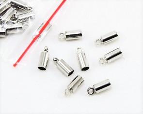 Endkappen für Leder, Kordenden zum Kleben, 9 x 3.5mm, 4mm innen, 20 Stk.