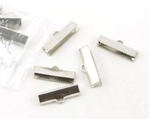 Bandklemmen für Schmuck, Quetschklemmen für Bänder, platin, 20x5mm