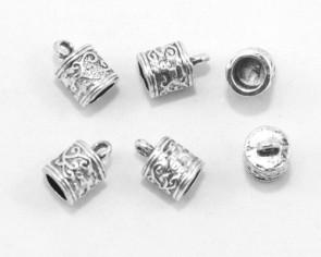 Endkappen für Leder, Kordende zum Kleben, 6mm innen, 13 x 8.5 mm10 Stk.