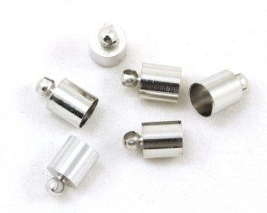 Endkappen mit Öse, platinfarbig, 9.5x6mm, 5.5mm innen, 20 Endteile