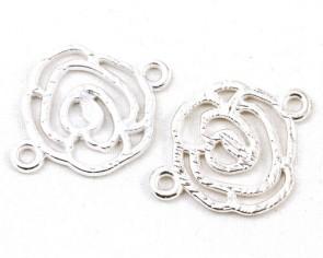 Metallzwischenteile Verbinder, Blume / Rose, silberfarbig, 26x20mm, 5 Zwischenelemente