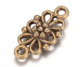 Metallzwischenteile Verbinder, Blume, antik bronze, 16x8mm, 5 Stk.