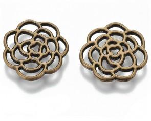 Metallzwischenteile Schmuckverbinder, Blumen, antik bronze, 16mm