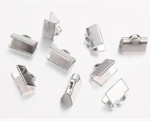 Bandklemmen für Schmuck, Quetschklemmen für Bänder, platin, 10mm, 20 Stk.