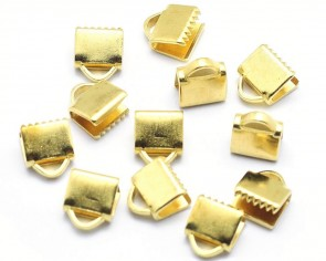 Bandklemmen für Schmuck, Quetschklemmen für Bänder, gold, 6.5mm, 20 Stk.