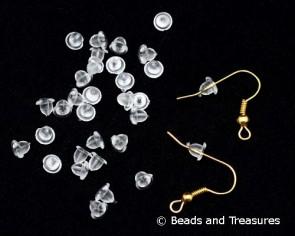 Ohrringmuttern, Stopper, Kunststoff transparent 4x3.5mm, 100 Stk