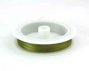 Schmuckdraht, Edelstahldraht, Tigertail, oliv-grün, 0.45mm, XL-Spule