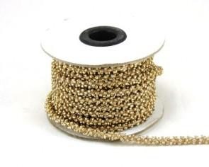 Schmuckkordel, Rocailleschnur, Rocaillekette, 6mm, goldfarbig, Meterware pro10 cm