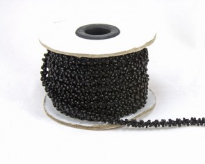 Schmuckkordel, Rocailleschnur, Rocaillekette, 6mm, schwarz, Meterware pro10 cm