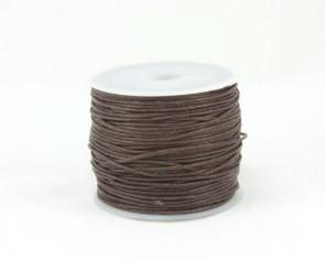 Gewachste Baumwollkordeln, Schmuckkordeln, Wachsbänder, 1 mm, braun, 25 m