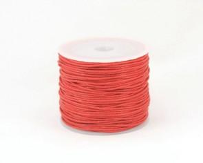 Gewachste Baumwollkordeln, Schmuckkordeln, Wachsbänder, 1 mm, rot, 25 Meter