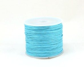Gewachste Baumwollkordeln, Wachsbänder, 1mm, türkis-blau / azur, 25 Meter
