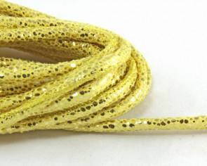Schmuckkordel, Lederband-Imitation rund gesteppt, 5mm, gold, genäht, Meterware