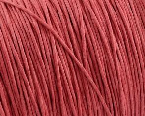 Gewachste Baumwollkordeln, Schmuckkordeln, Wachsbänder, 1 mm, korallen-rot