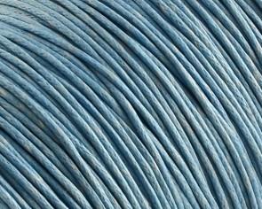 Gewachste Baumwollkordeln, Schmuckkordeln, Wachsbänder, 1 mm, hellblau