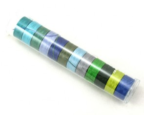 S-Lon Perlfaden, Grösse D, Farbmix blau-grün, 12er Pack