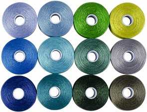 S-Lon Perlfaden, Tex 45, Grösse D, Farbmix blau-grün, 12er Pack
