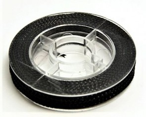 Metallic Makramee Garn, 0.6mm, schwarz, geflochten, ca. 10m