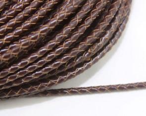 Bolo Lederband geflochten, rund 5 mm, dunkelbraun, 1m