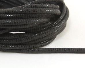 Geprägtes Lederband, Lederkordel genäht, 6 x 4.5mm, schwarz mit Reptilienmuster, 10 cm