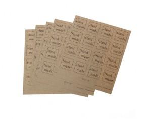 Klebeetiketten Handmade, quadratisch, nature hellbraun, 27x27mm, 5 Bögen