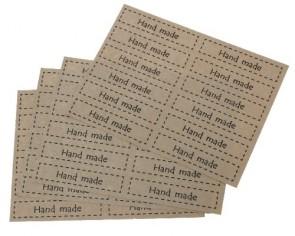 Klebeetiketten Handmade, rechteckig, nature hellbraun, 69 x 15mm, 5 Bögen