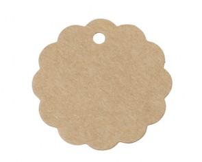 Papieranhänger, Geschenkanhänger, Etiketten, rund gewellt, braun, Ø 5 cm, 25 Stk.