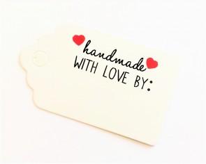 Papieranhänger, Geschenkanhänger, Etiketten, weiss, handmade with love, 5 x 3 cm, 50 Stk.