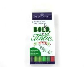 Faber-Castell Tuschestift PITT artist pens grün, Handlettering Set, 6er Etui